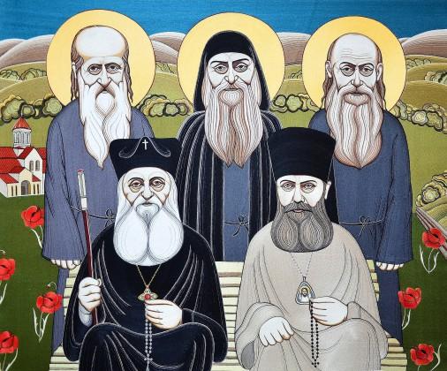 Патриарх Ефрем II и Епископ Илья (ныне Патриарх Илья II) с недавно прославленными св. Георгием, св. Иоанном и Св. Блаж. Гавриилом во дворе Бетанского монастыря